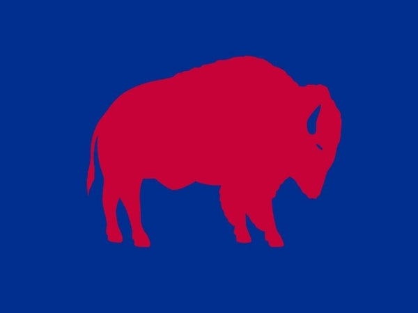 ROYAL BLUE BACKGROUND FLAG WITH RED STANDING BUFFALO IN THE CENTER