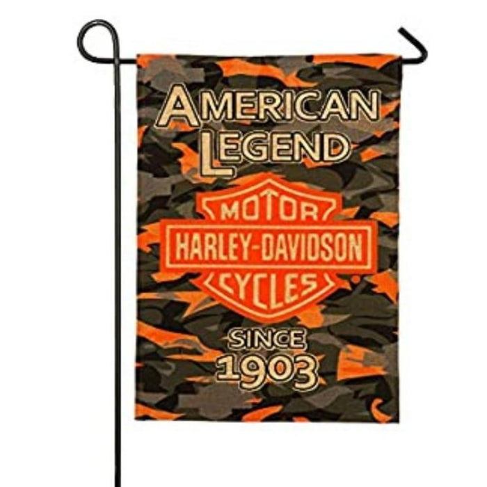 CAMOUFLAGE BURLAP GARDEN FLAG WITH THE HARLEY LOGO IN THE CENTER