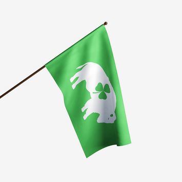 GREEN FLAG WITH WHITE STANDING BUFFALO AND THREE LEAF CLOVER IN THE CENTER