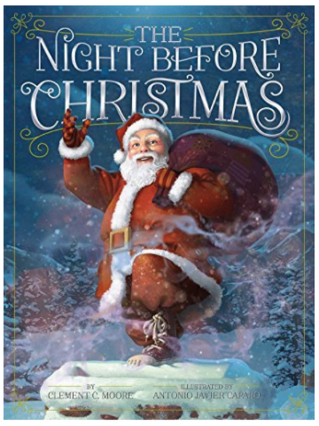 BOOK COVER WITH SANTA WAVING AND STANDING ON THE CHIMNEY