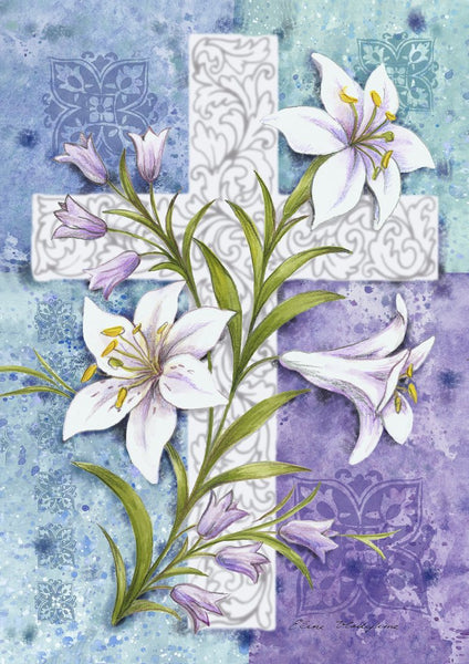 Easter Lilies Cross Banner Flag