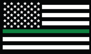 3X5' Polyester Thin Green Line Flag