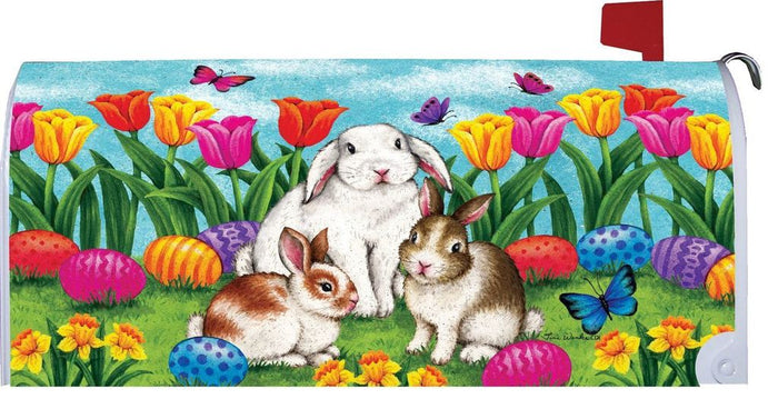 THREE BUNNIES MAILBOX COVER