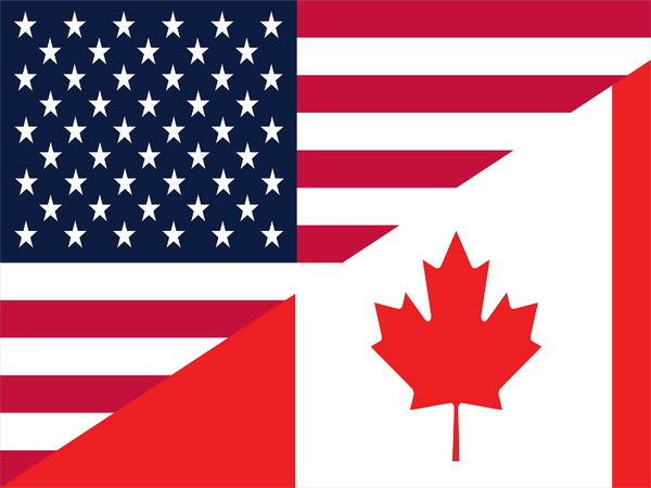 flag with the us flag on the top left corner and the canadian flag in the botom right corner