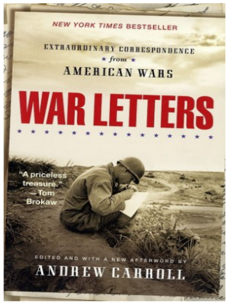 BOOK COVER WITH A MILITARY SOLDIER SITTING IN A FIELD WRITING A LETTER