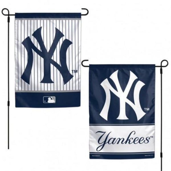 one side is white and blue pinstriped yankees logo and the other side is a blue background yankees logo that says