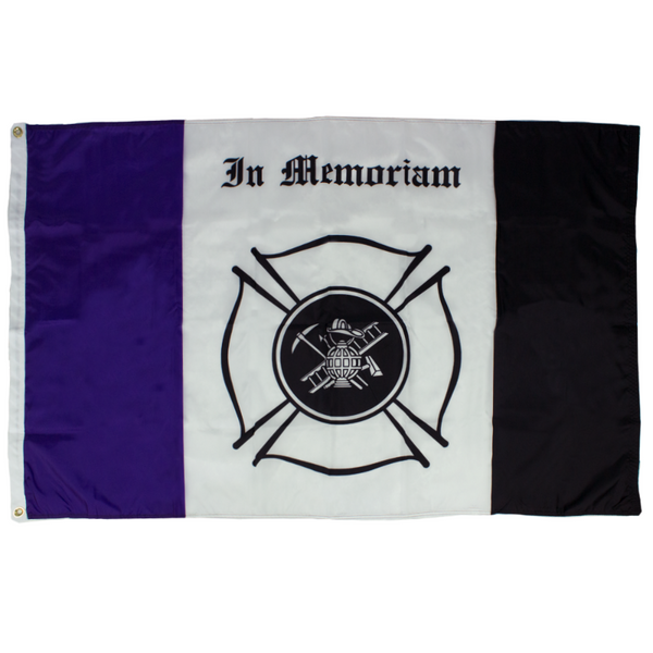 PURPLE, WHITE, AND BLACK FLAG WITH THE FIRE DEPARTMENT LOGO IN THE CENTER AND