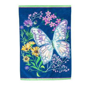 blue flag with shiny butterfly and some applique accents