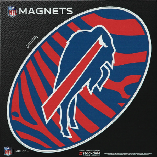 zubaz print magnet with the charging buffalo bills logo in the center