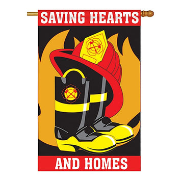 black and red flag with a pair of fire fighter boots with a hat and a flame in the center and the words