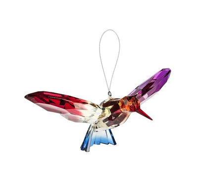 acrylic hummingbird on a string with a red, purple, and blue color scheme