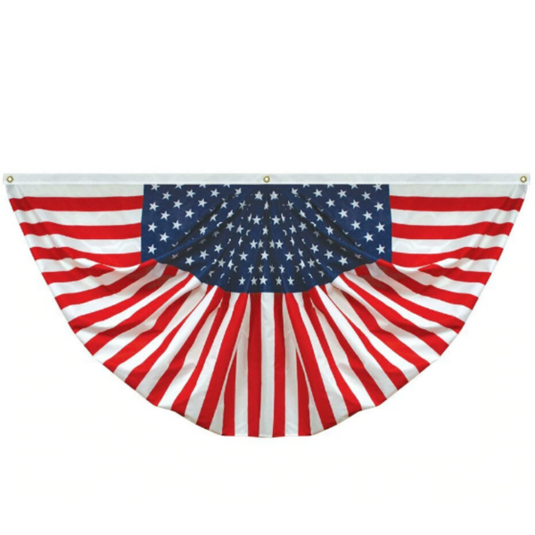 americana bunting with starfield in the center and stripes coming off of it