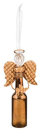 angel ornament crafted out of a small bottle with wings and a gem head
