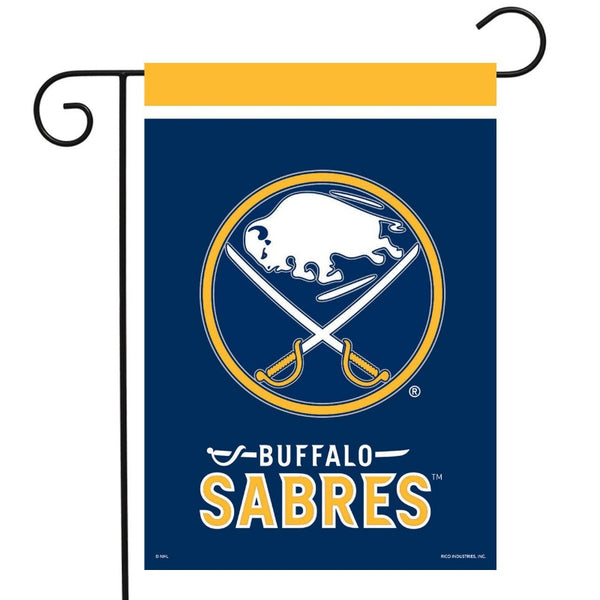 navy sabres garden flag with the sabres logo and buffalo with swords