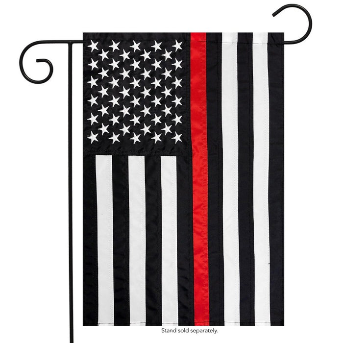 BLACK AND WHITE AMERICAN FLAG WITH A RED STRIPE IN THE CENTER