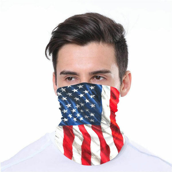 man wearing the us flag face mask gaiter
