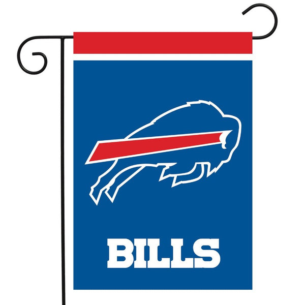 blue flag with red and white stripe at the top with charging buffalo and the word