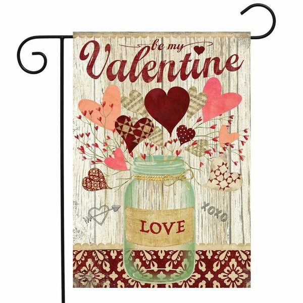 wood look background with a mason jar and hearts with the words
