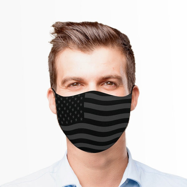 Gray American Flag Reusable Cloth Adult Face Mask