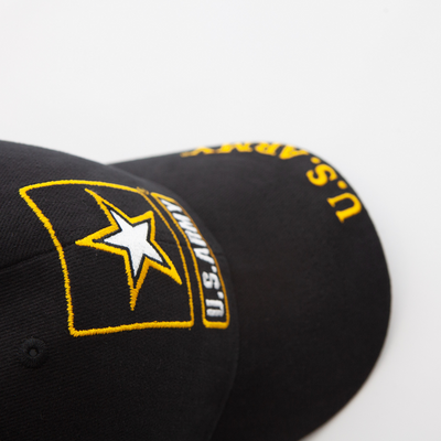 black hat with black and gold army star logo