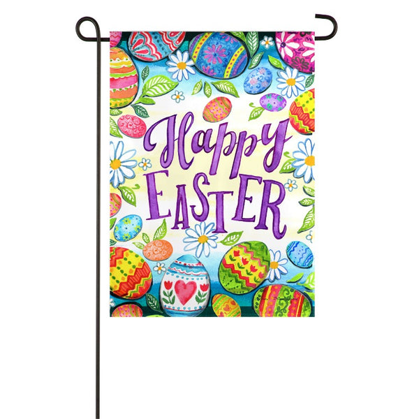 colorful easter egg background flag with the words