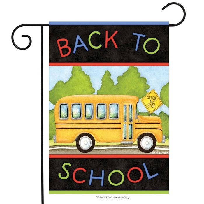 back to school bus garden flag