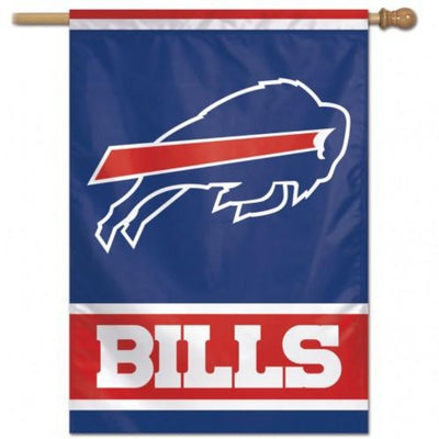 "blue flag with red and white stripes, the word ""BILLS"" and the charging buffalo logo"
