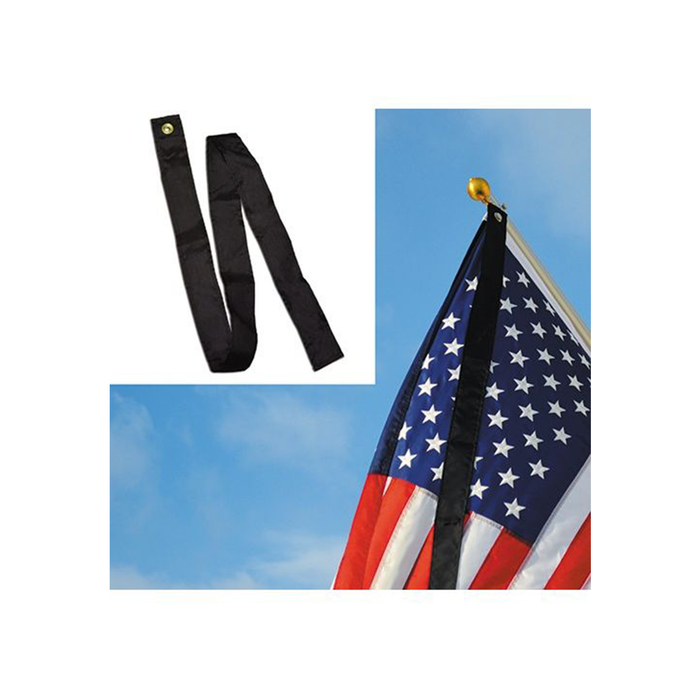 Black Mourning Ribbon Flag