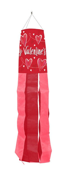 red windsock with valentine hearts and the words