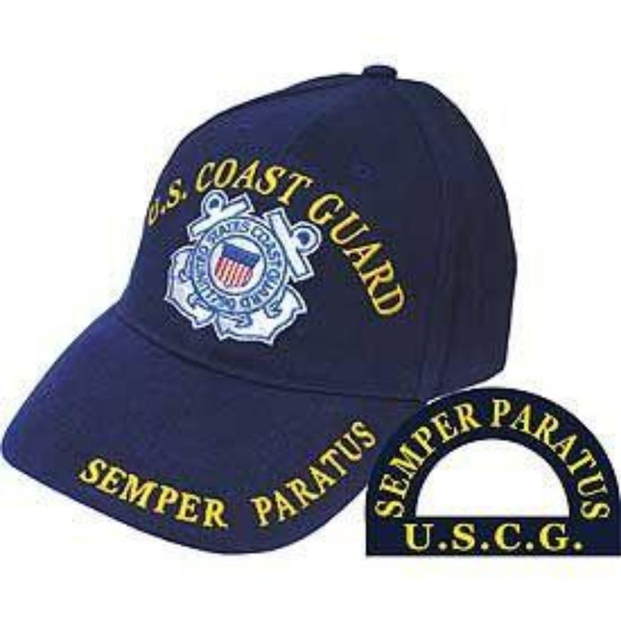 blue hat with the coast guard logo in the center