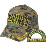 "camo hat with the word ""marines"" across the center"