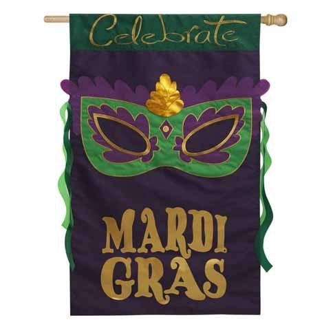 Celebrate Mardi Gras Applique Banner Flag