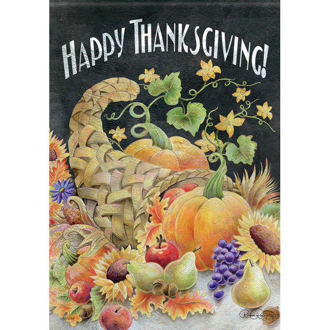 Chalkboard Cornucopia Double-Sided Thanksgiving Banner