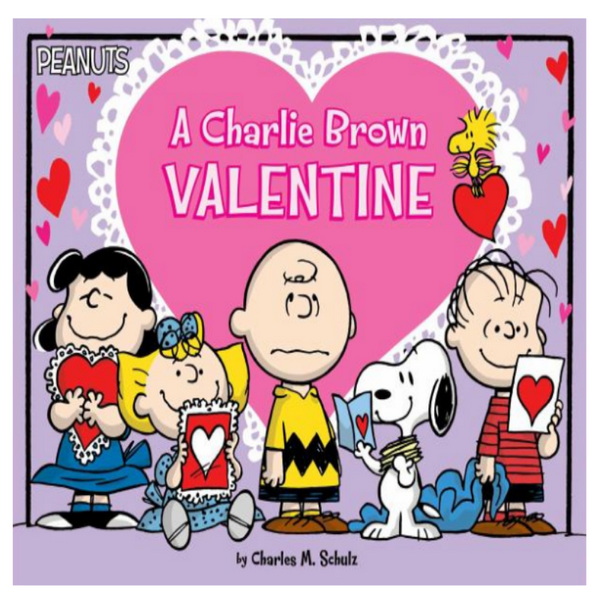 book cover with charlie brown characters and valentines