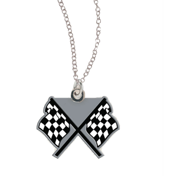 dual checkered flags on necklace