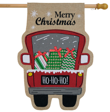 CHRISTMAS DELIVERY BURLAP BANNER FLAG