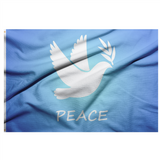 "BLUE FLAG WITH WHITE DOVE IN THE CENTER AND THE WORD ""PEACE"" UNDERNEATH IT"