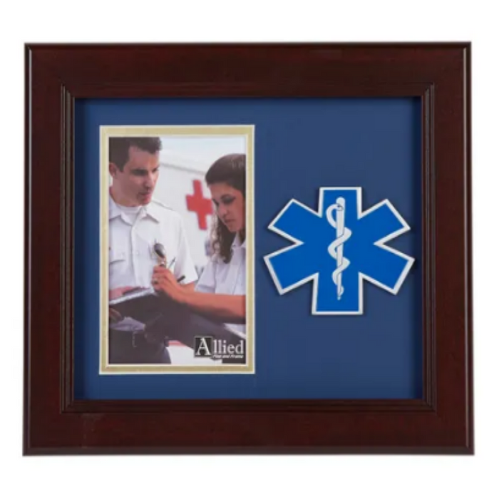 brown wood photo frame with the ems star of life on a medallion to the right of the picture spot