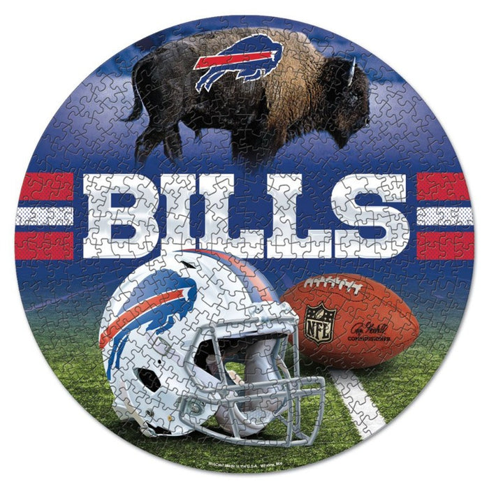 round puzzle with the bills helmet, buffalo, and a football