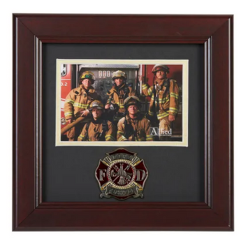 brown wood photo frame with the fire fighter emblem on a medallion below the picture spot