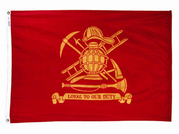 RED FLAG WITH THE FIRE FIGHTER INSIGNIA IN THE CENTER; PHRASE