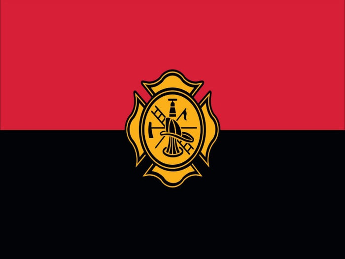 RED AND BLACK STRIPED BACKGROUND WITH FIRE FIGHTER LOGO IN THE CENTER