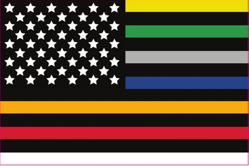 3X5' FIRST RESPONDERS THIN LINE POLYESTER FLAG