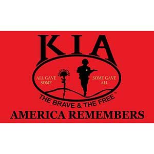 3X5' Killed In Action (KIA) Polyester Flag