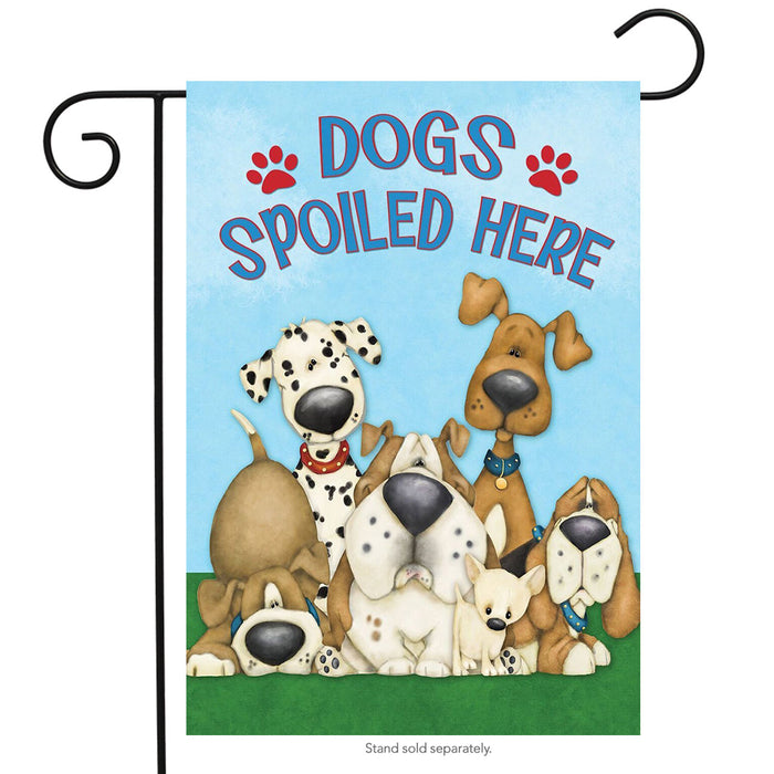 DOGS SPOILED HERE DECORATIVE FLAGS