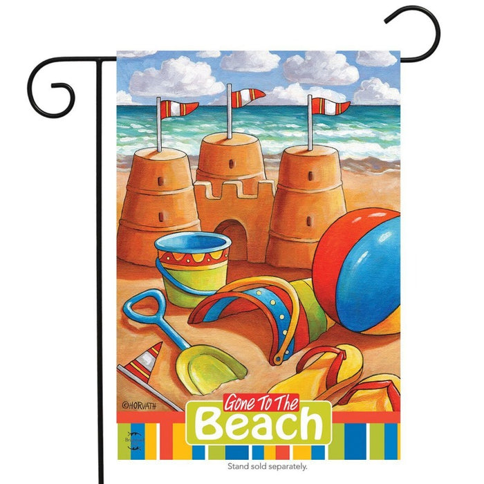 Gone to the Beach Sandcastles Garden Flag