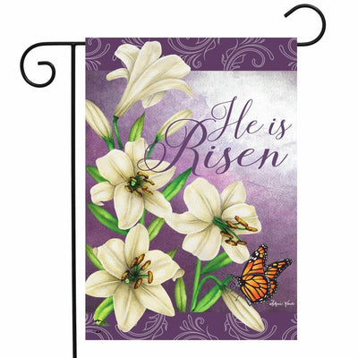 "purple flag with white lilies and the words ""he is risen"""