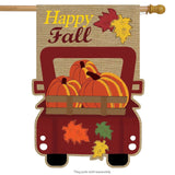 HAPPY FALL PICKUP BURLAP DECORATIVE FLAGS