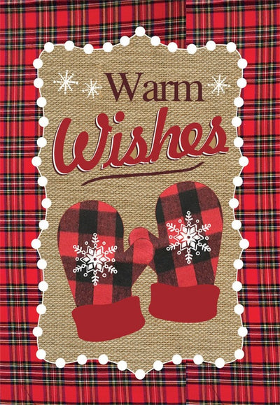 WARM WISHES WINTER BURLAP DECORATIVE FLAGS