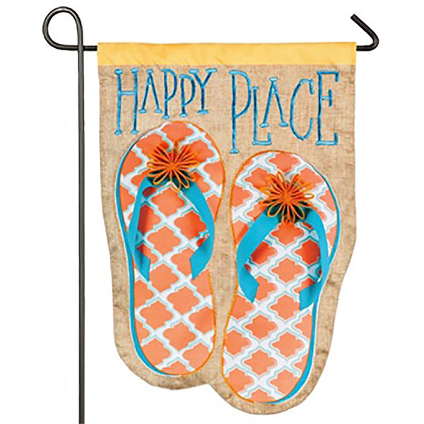 Happy Place Flip Flops Suede Garden Flag